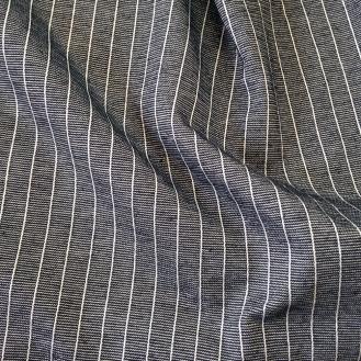 dunkelblauer Jersey mit weißen Streifen aus Baumwolle/Elastan
